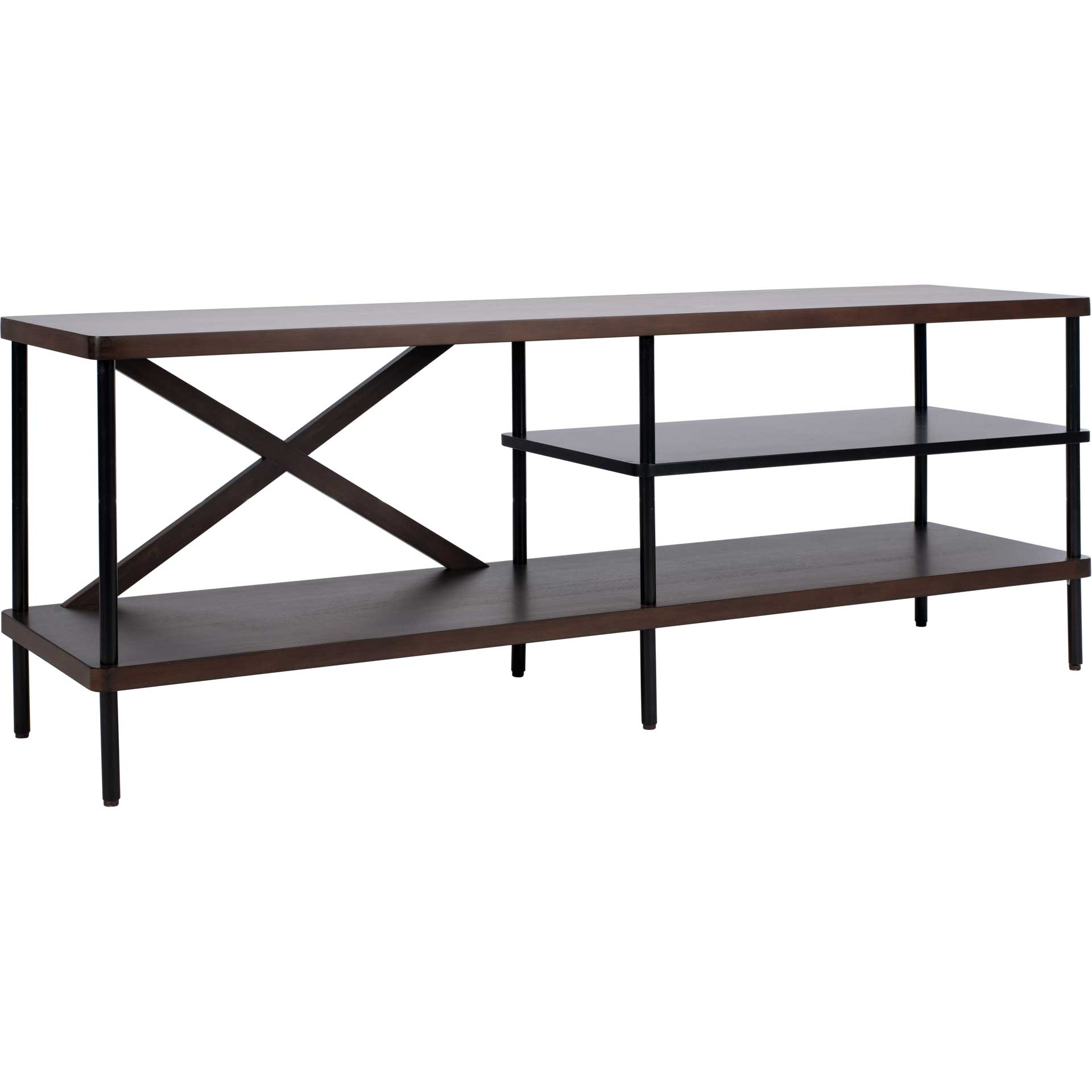 Brian Industrial TV Stand Walnut/Black