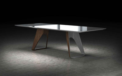 Preston Dining Table Titanium Glass/Walnut