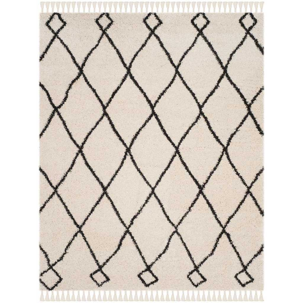 Moroccan Diamond Fringe Shag Cream/Charcoal Area Rug