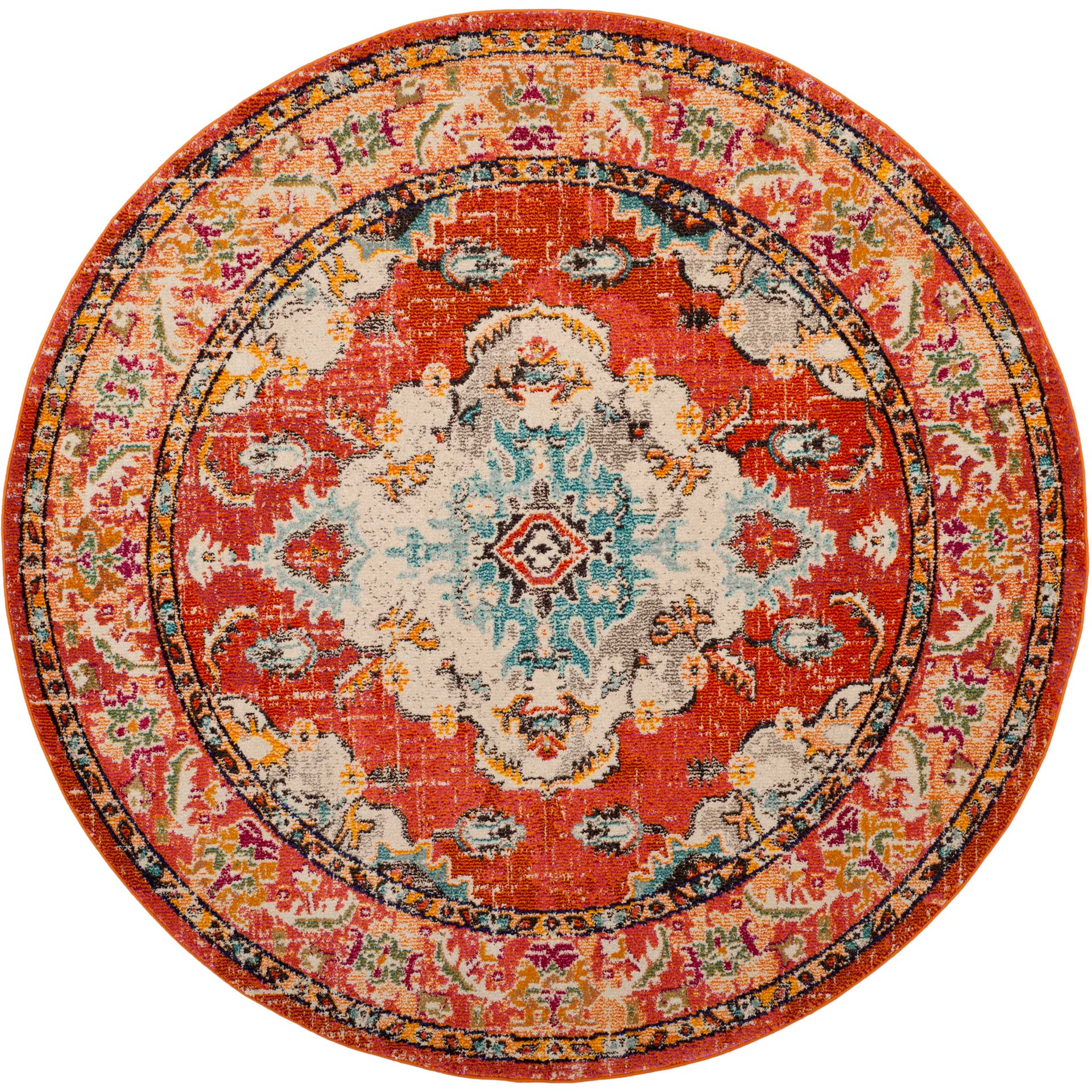 Monaco Orange/Light Blue Round Rug