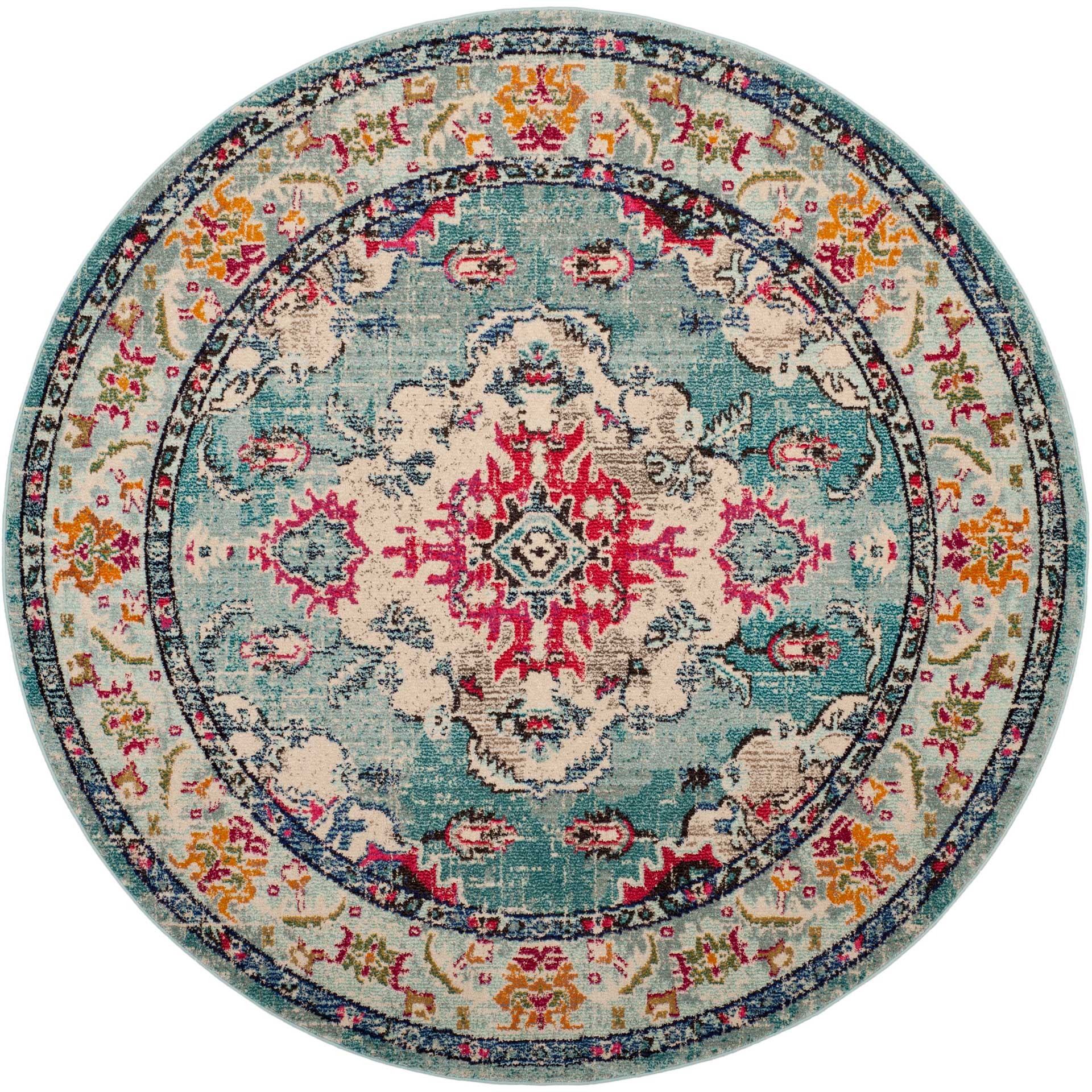 Monaco Light Blue/Fuchsia Round Rug