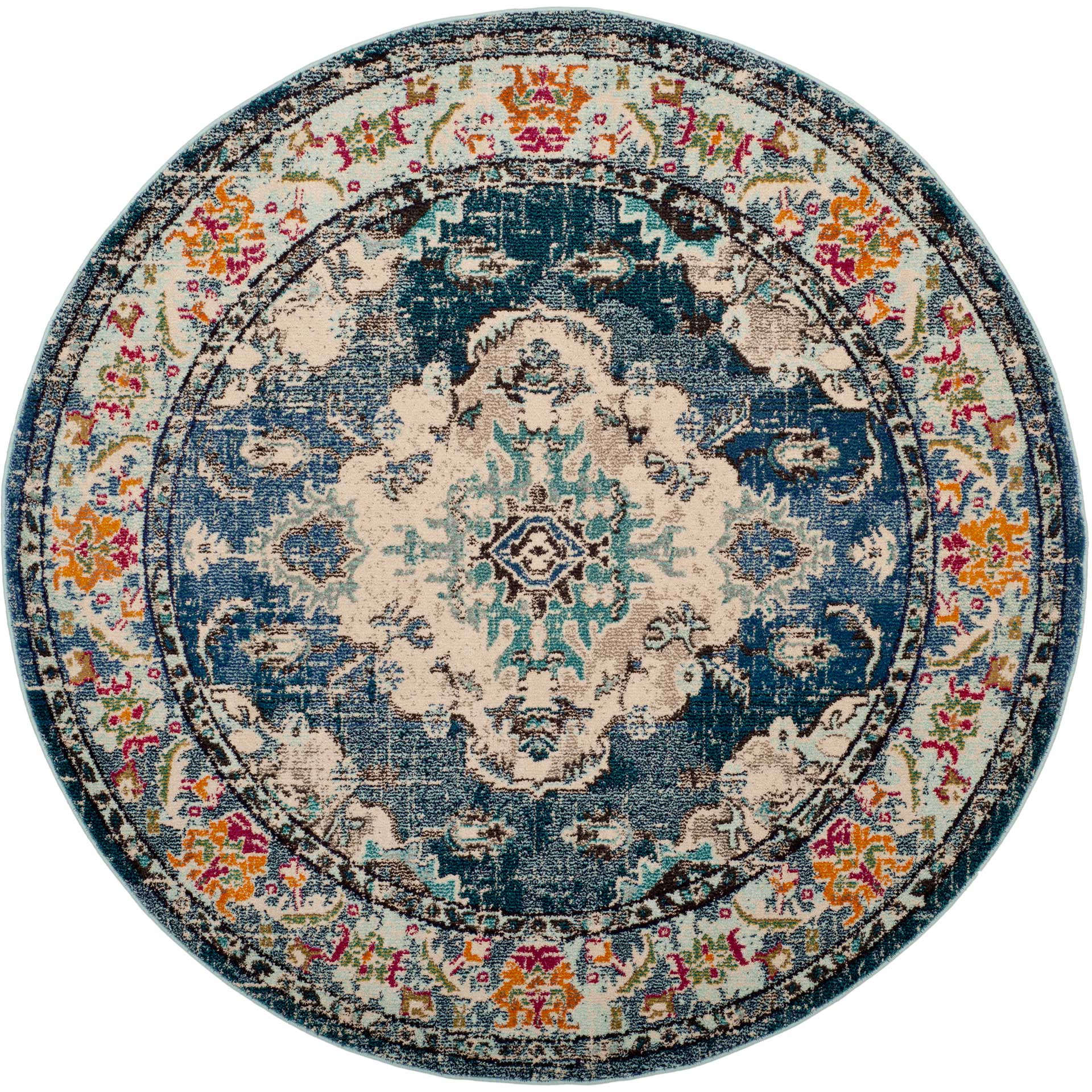 Monaco Navy/Light Blue Round Rug