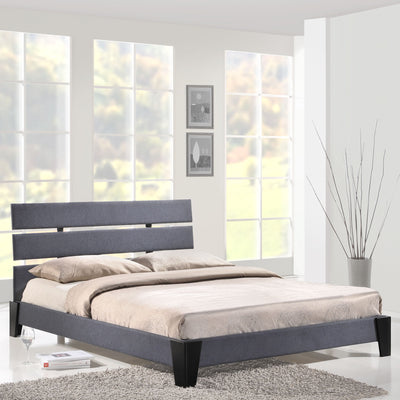 Zoar Queen Fabric Bed Gray