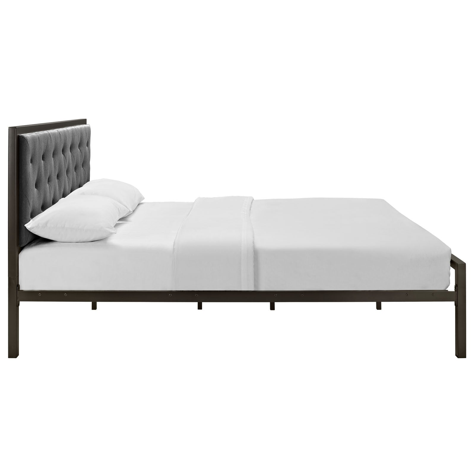 Miles Fabric Platform Bed Brown Gray