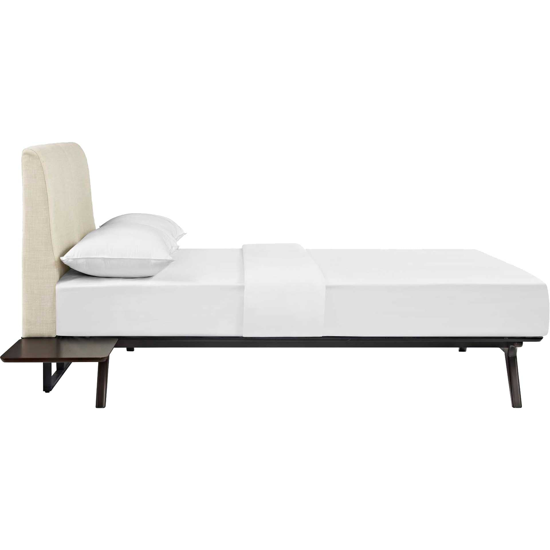 Thames Bed Cappuccino/Beige With Side Tables