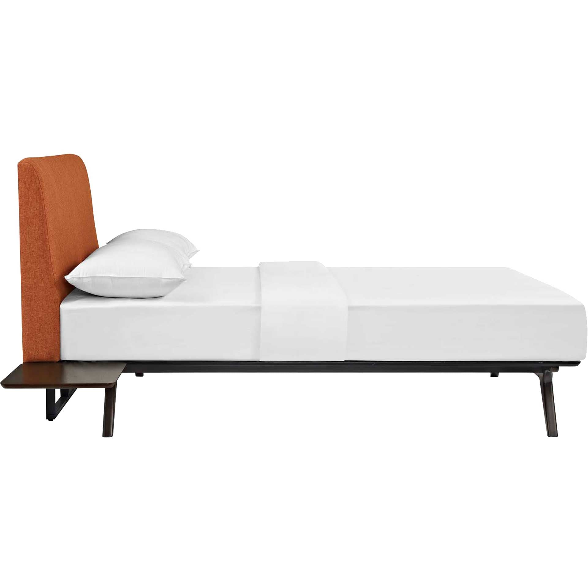 Thames Bed Cappuccino/Orange With Side Tables