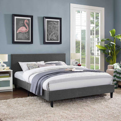 Alwyn Fabric Bed Gray