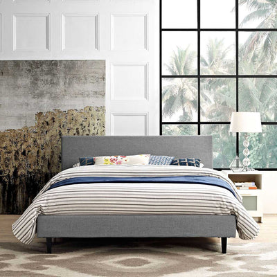 Alwyn Fabric Bed Light Gray