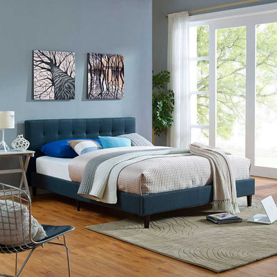 Lester Fabric Bed Azure