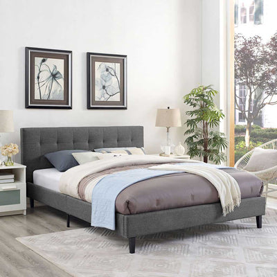 Lester Fabric Bed Gray