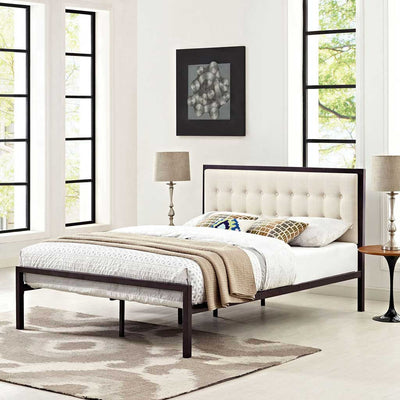 Milton Fabric Bed Brown/Beige