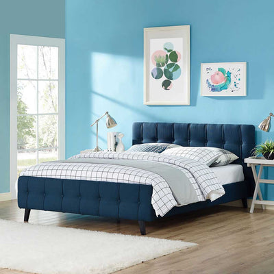 Osbert Fabric Bed Azure