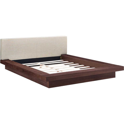 Freyja Fabric Platform Bed Walnut/Beige