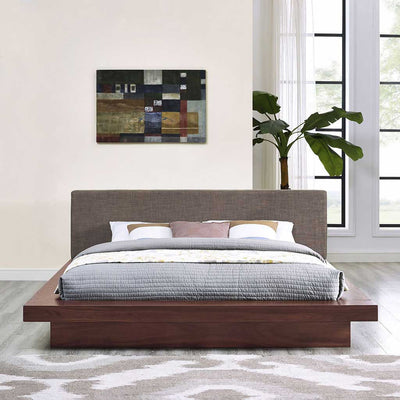 Freyja Fabric Platform Bed Walnut/Brown