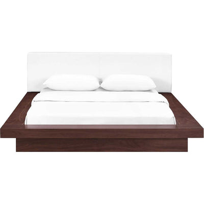 Freyja Vinyl Platform Bed Walnut/White