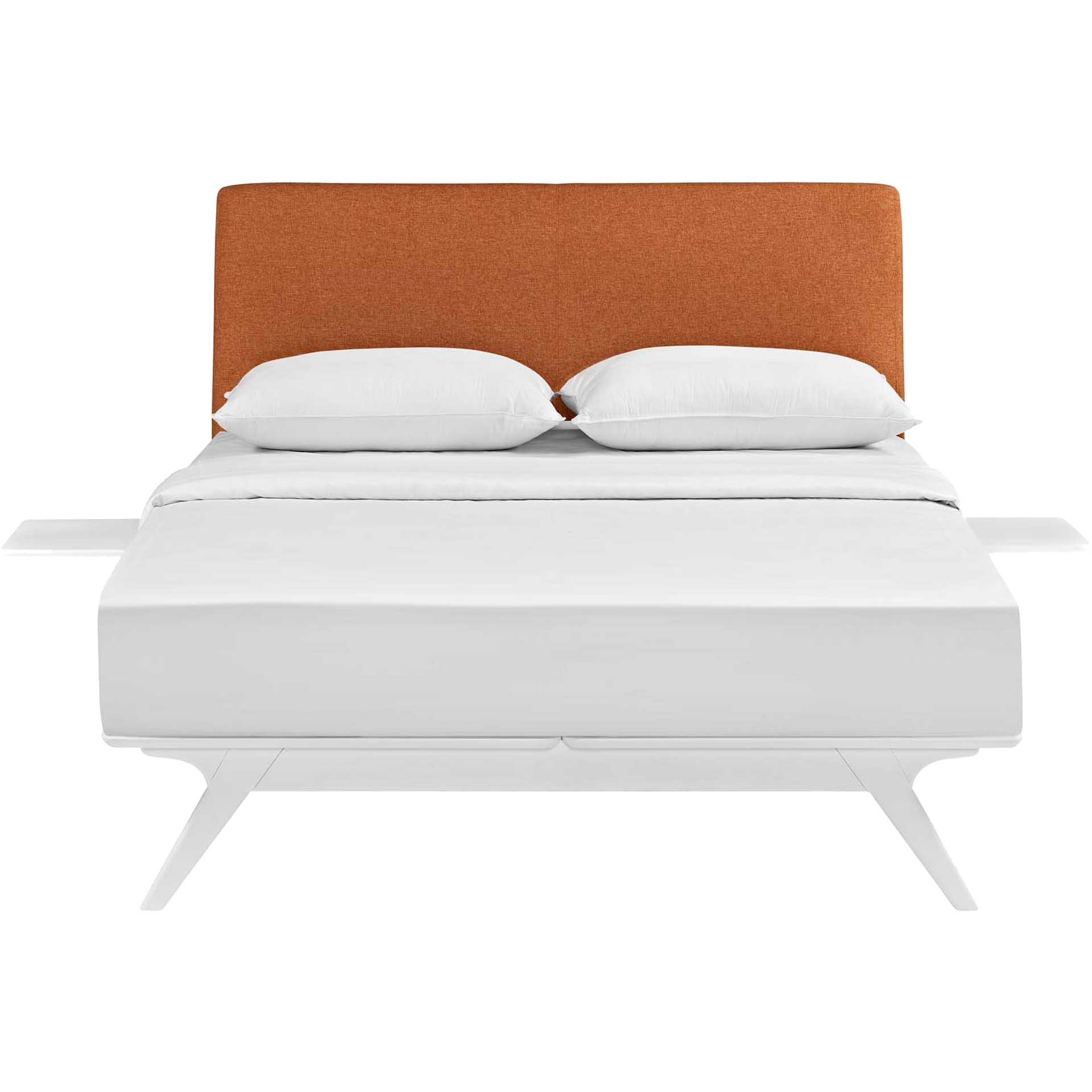 Thames Bed White/Orange With Side Tables