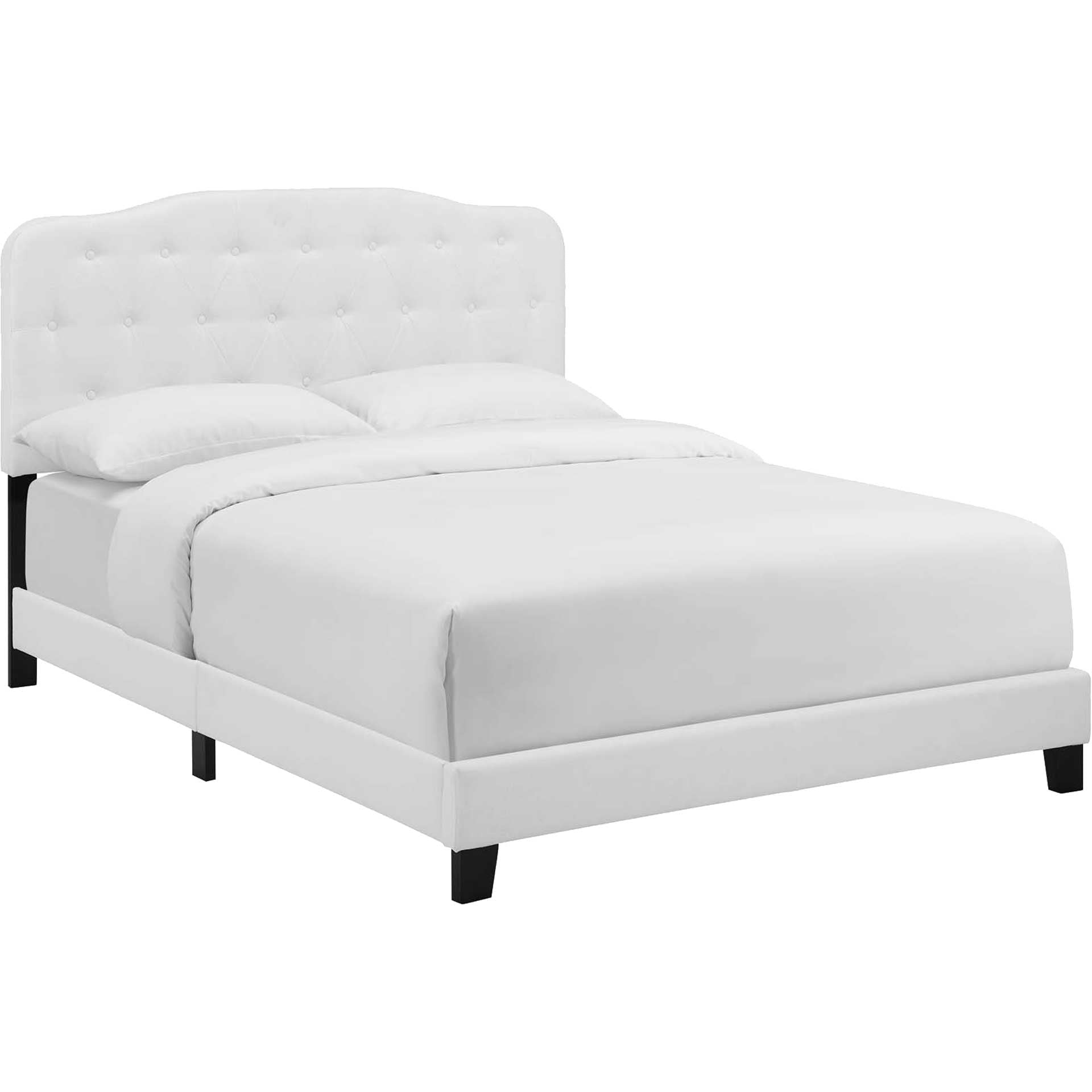 Amelie Upholstered Fabric Bed White