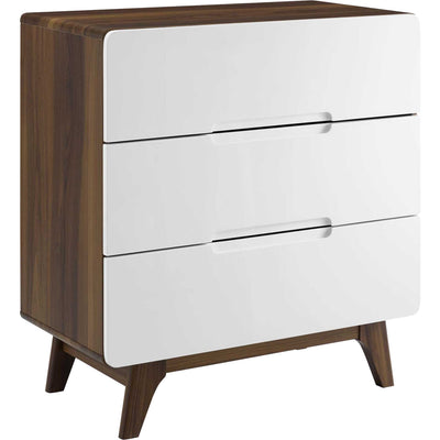 Orion Three-Drawer Chest Walnut/White