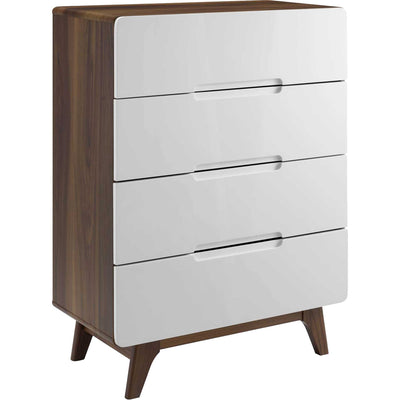 Orion Four-Drawer Chest Walnut/White