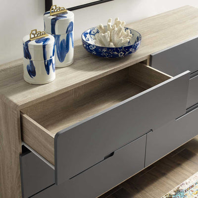 Orion Six-Drawer Wood Dresser Natural Gray