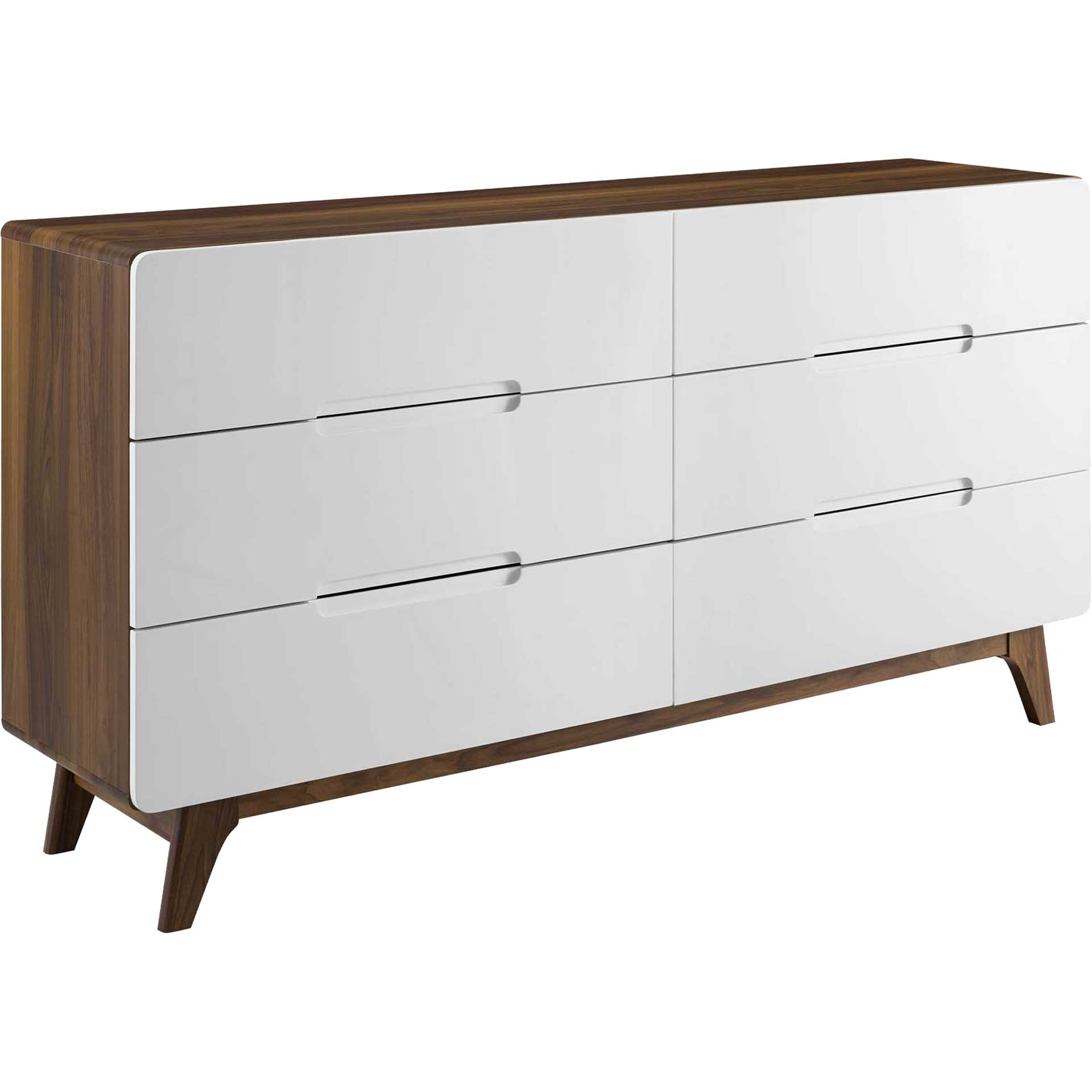 Orion Six-Drawer Wood Dresser Walnut/White
