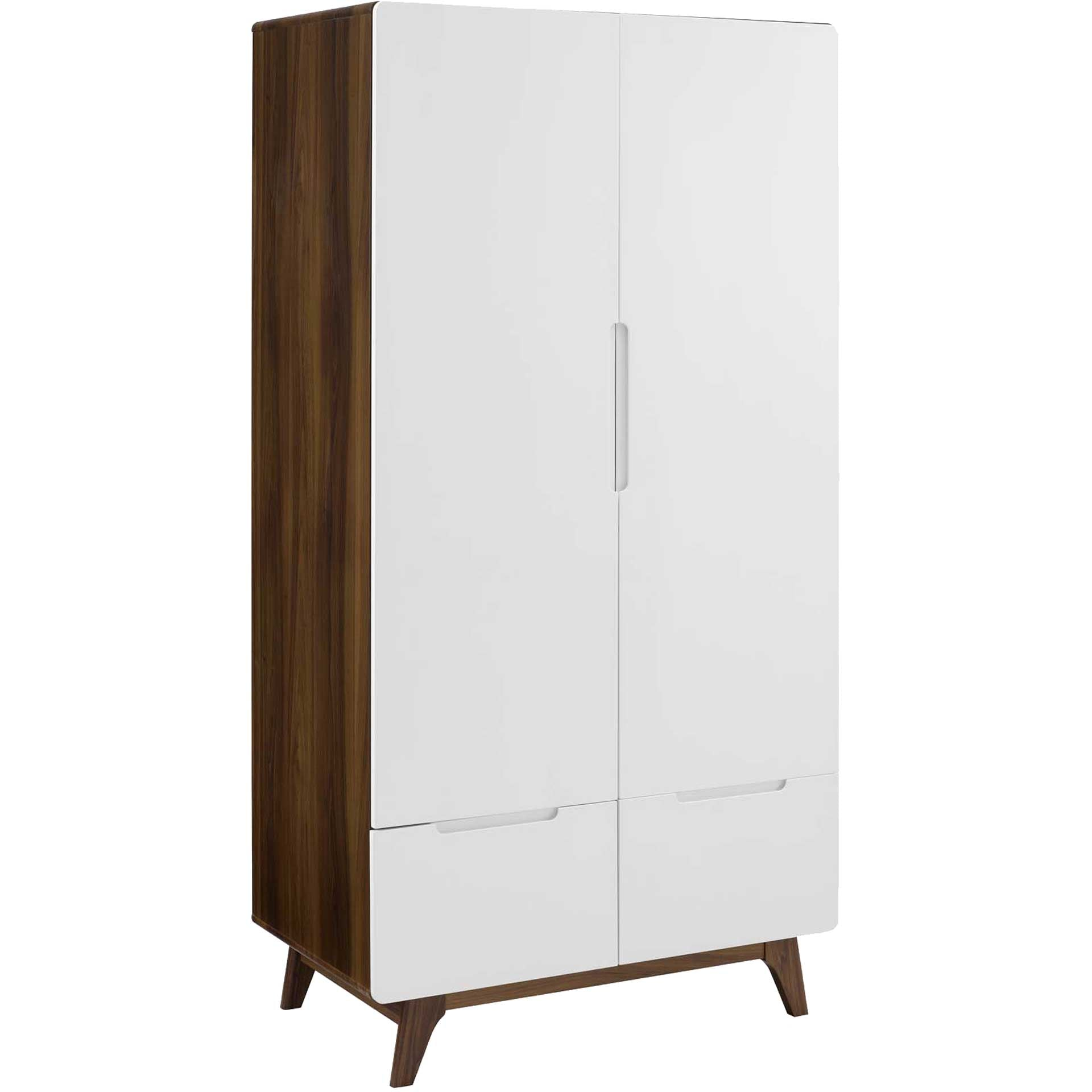 Orion Wood Wardrobe Cabinet Walnut/White