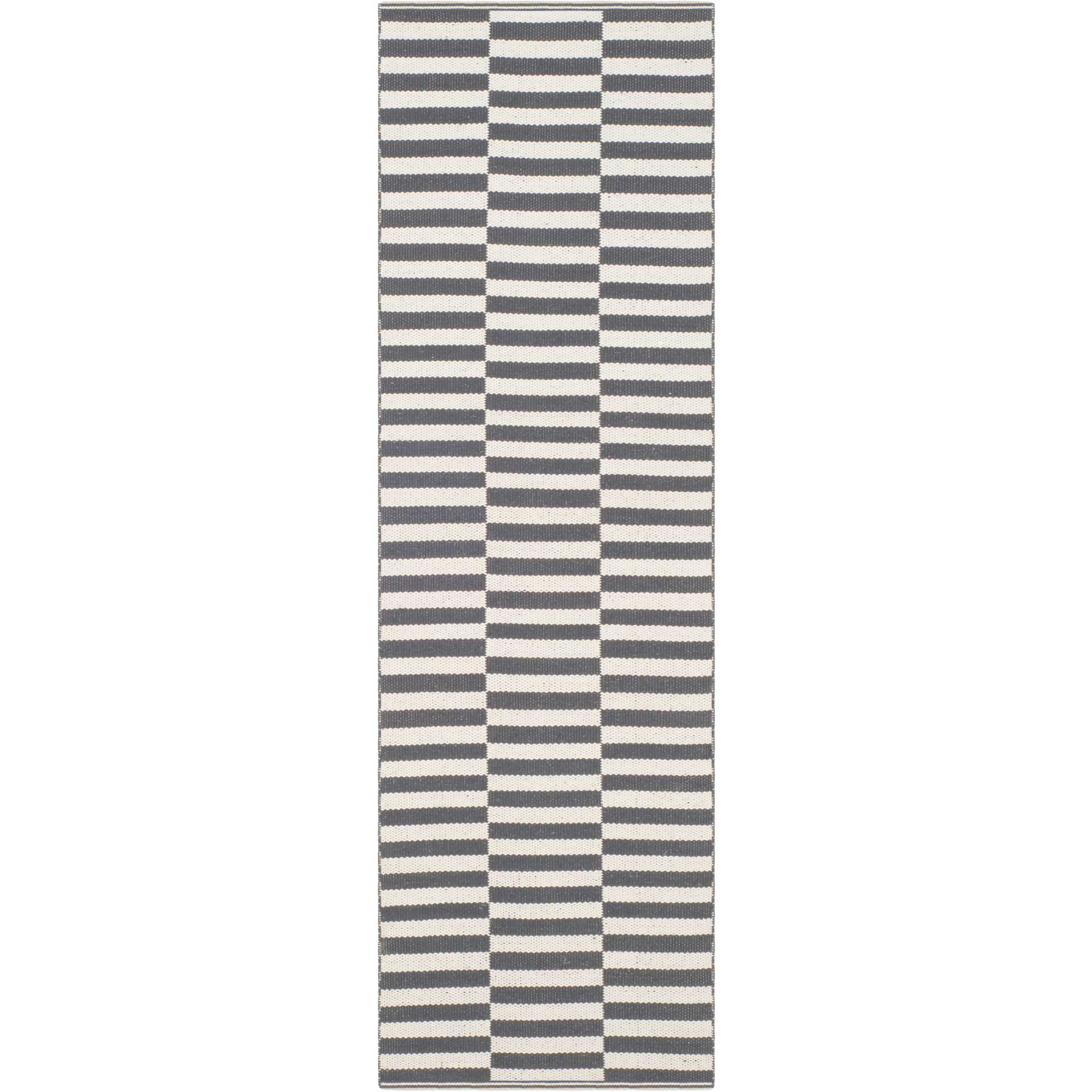 Montauk Checker Ivory/Gray Runner Rug