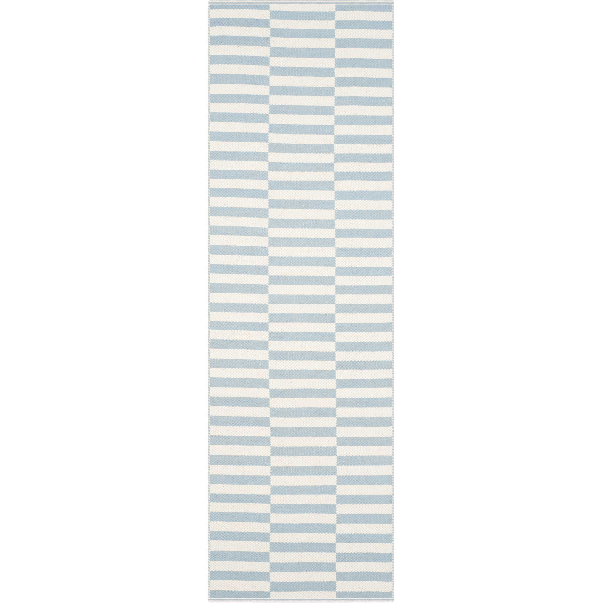 Montauk Checker Ivory/Light Blue Runner Rug