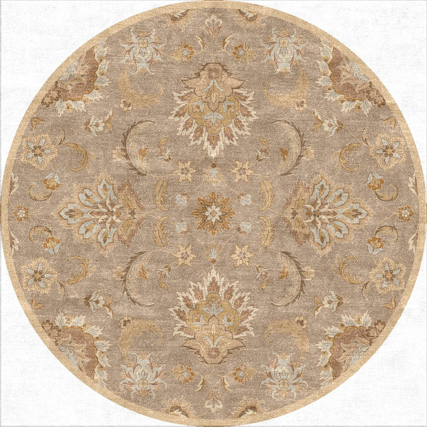 Mythos Abers Silver Gray/Soft Gold Round Rug