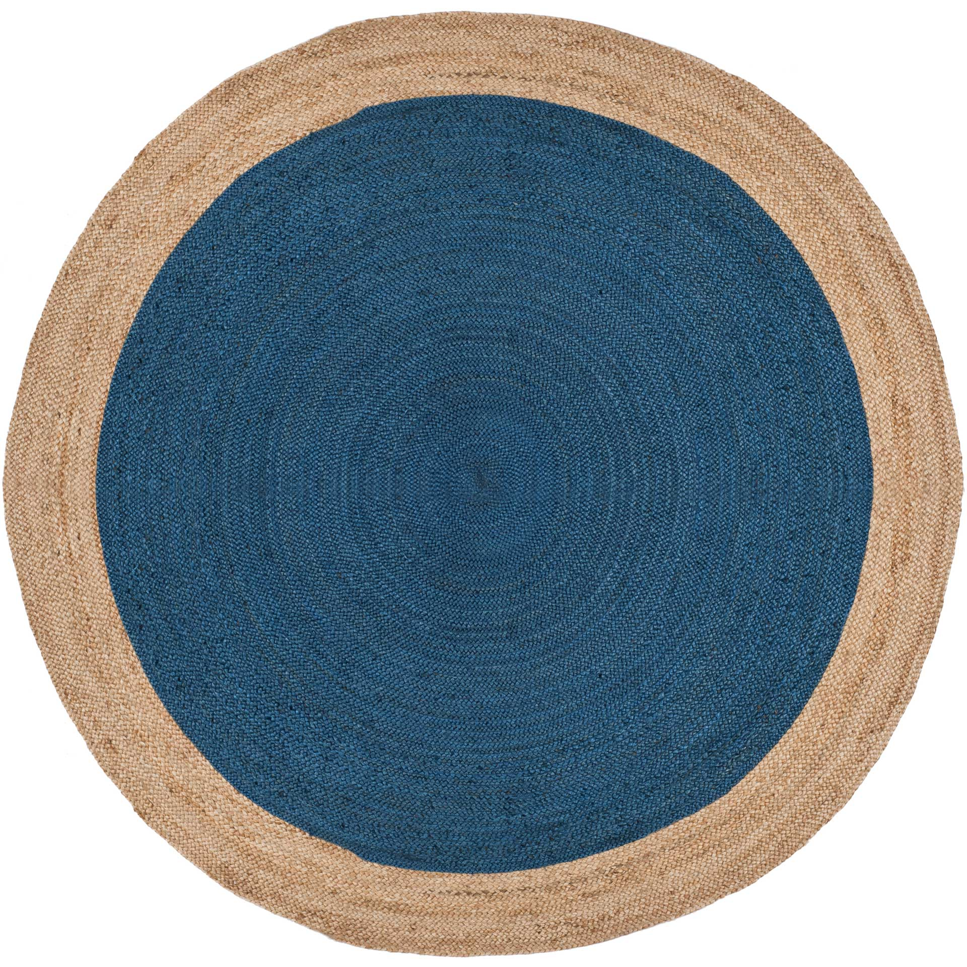 Natural Fiber Royal Blue/Natural Round Rug