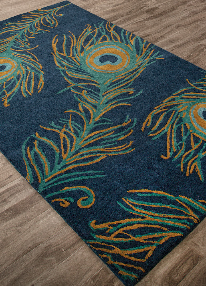Beautiful National Geographic Peacock Blueashes/Bayou Area Rug