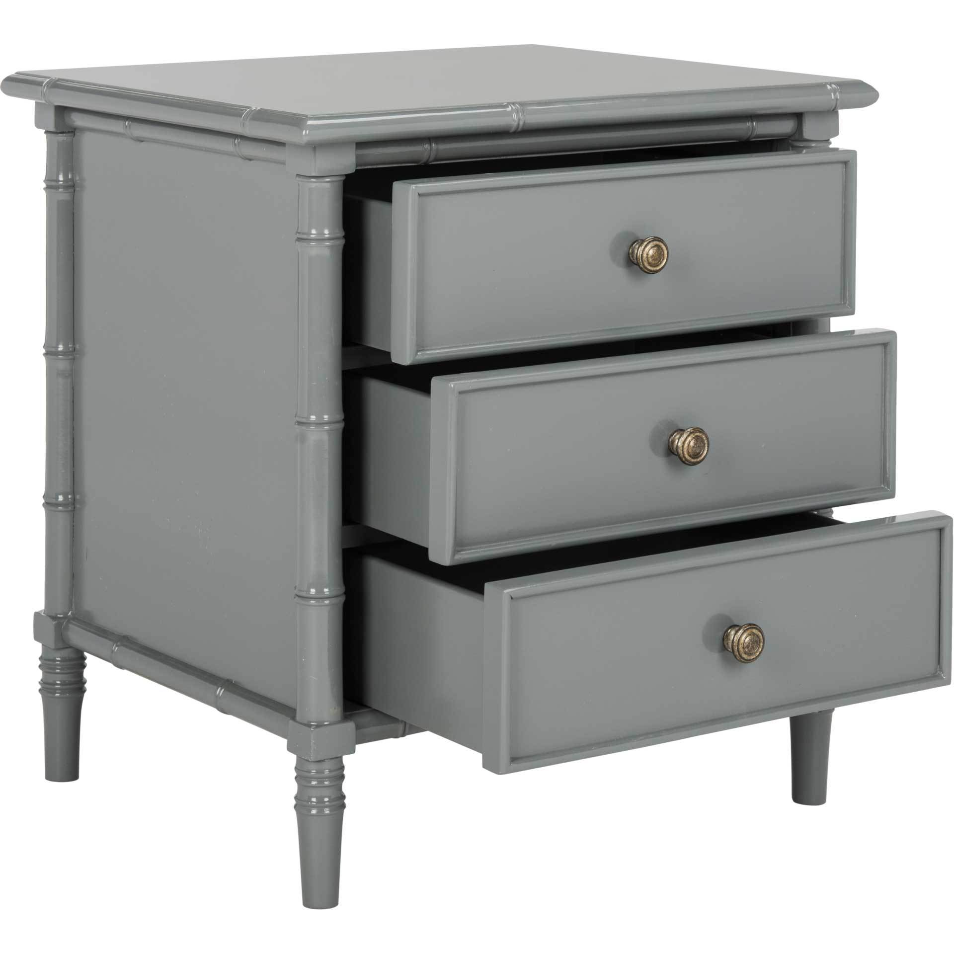Mitchell Coastal 3 Drawer Bamboo Nightstand Gray