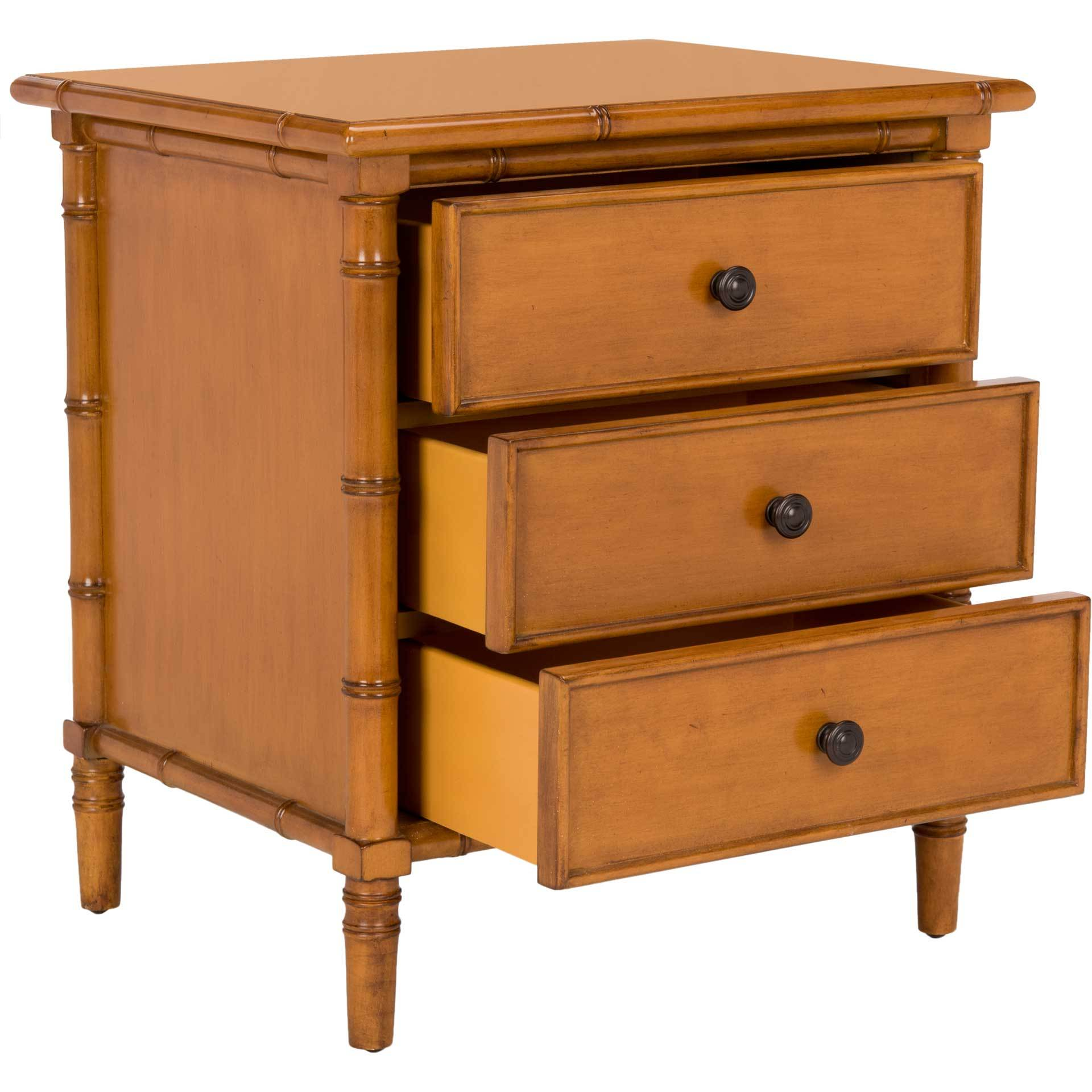 Mitchell 3 Drawer Bamboo Nightstand Brown