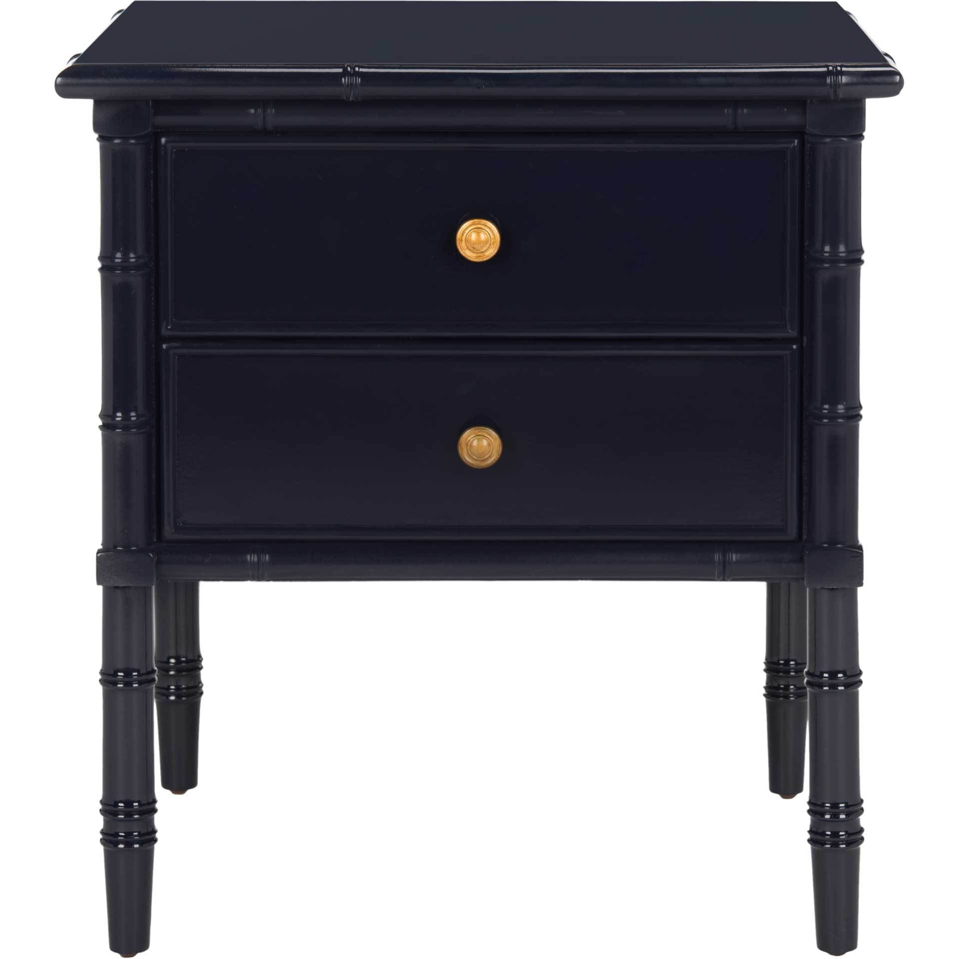 Mitchell 2 Drawer Bamboo Nightstand Navy