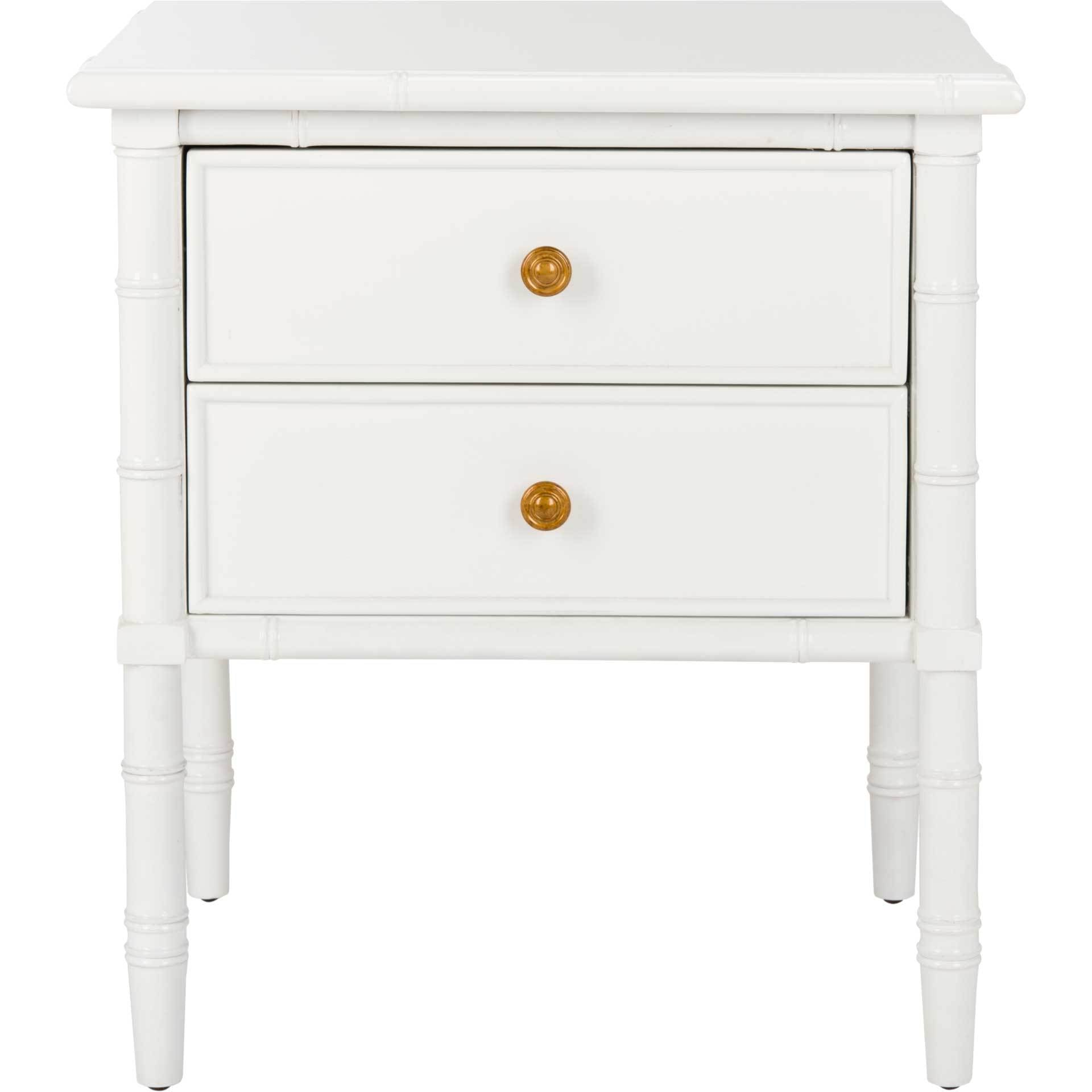 Mitchell 2 Drawer Bamboo Nightstand White