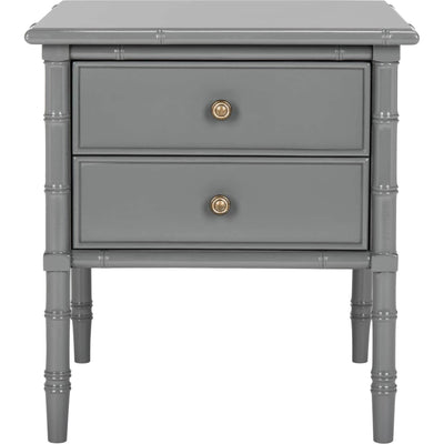Mitchell Coastal 2 Drawer Bamboo Nightstand Gray