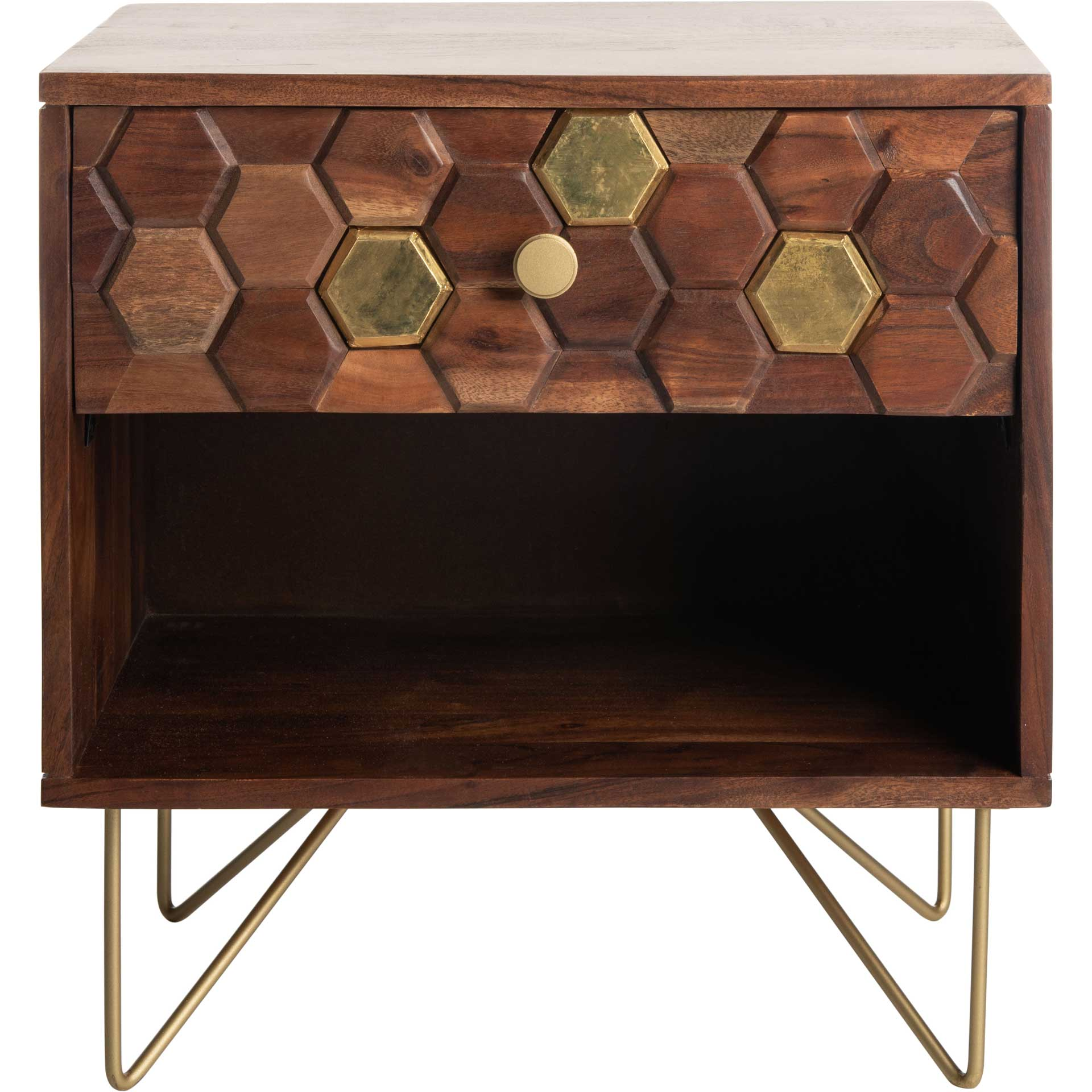 Ray Nightstand Mix Walnut/Brass