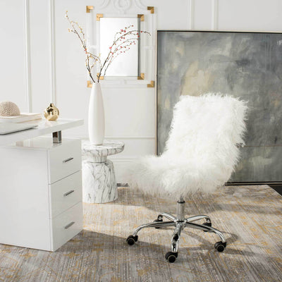 Whalen Faux Sheepskin Chrome Leg Swivel Chair