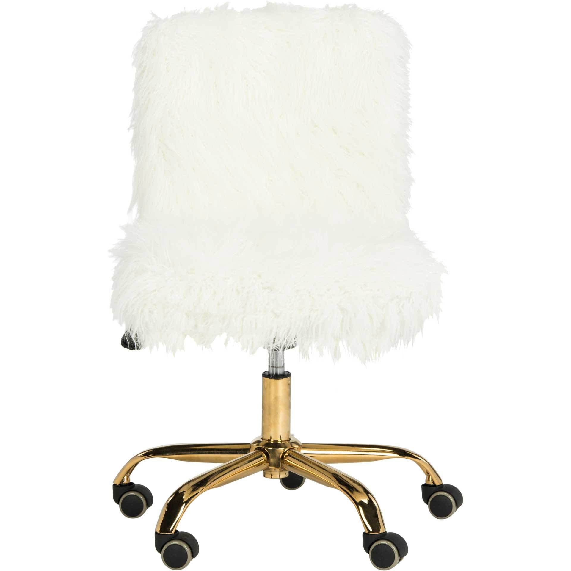 Whalen Faux Sheepskin Gold Leg Swivel Chair