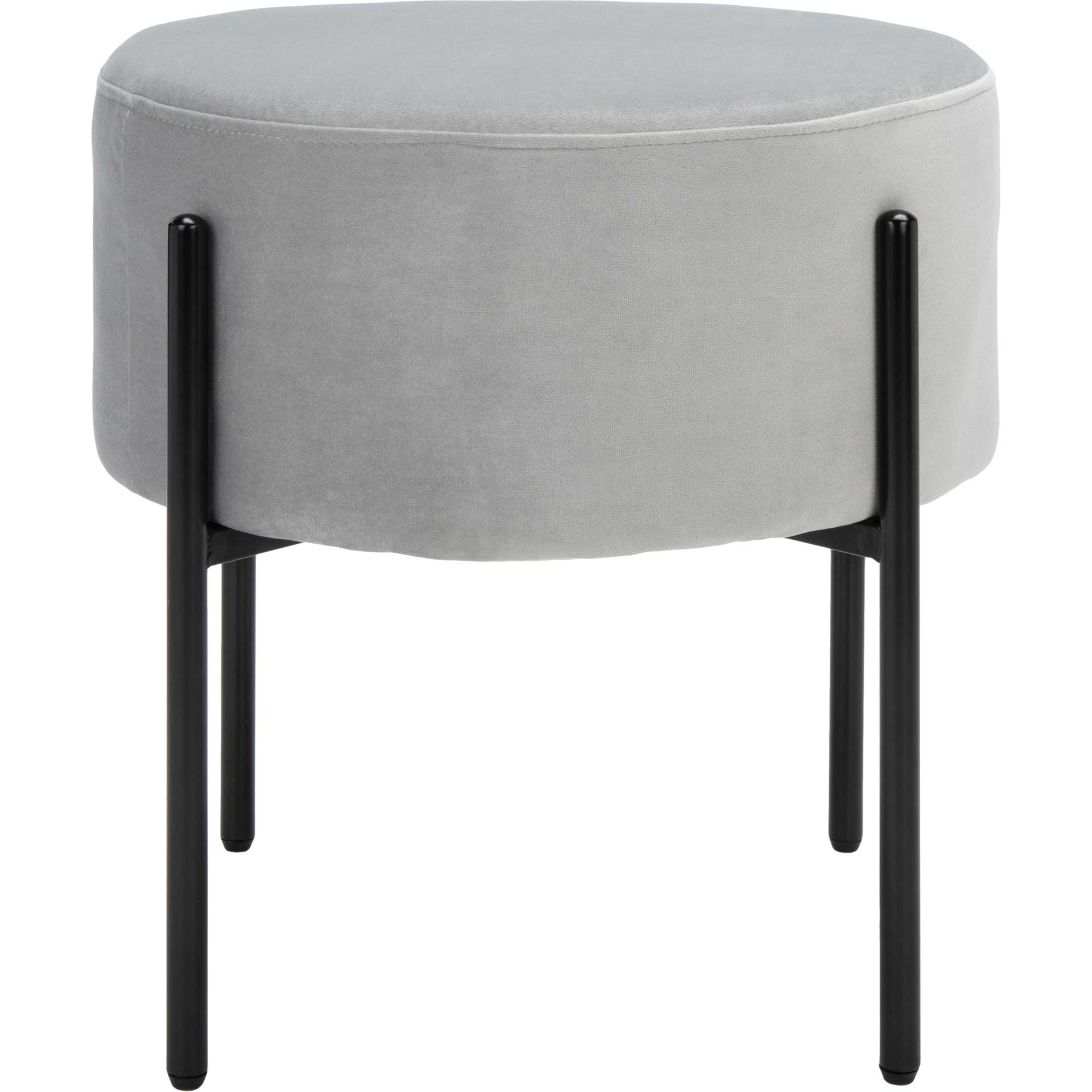 Lincoln Round Ottoman Gray/Black