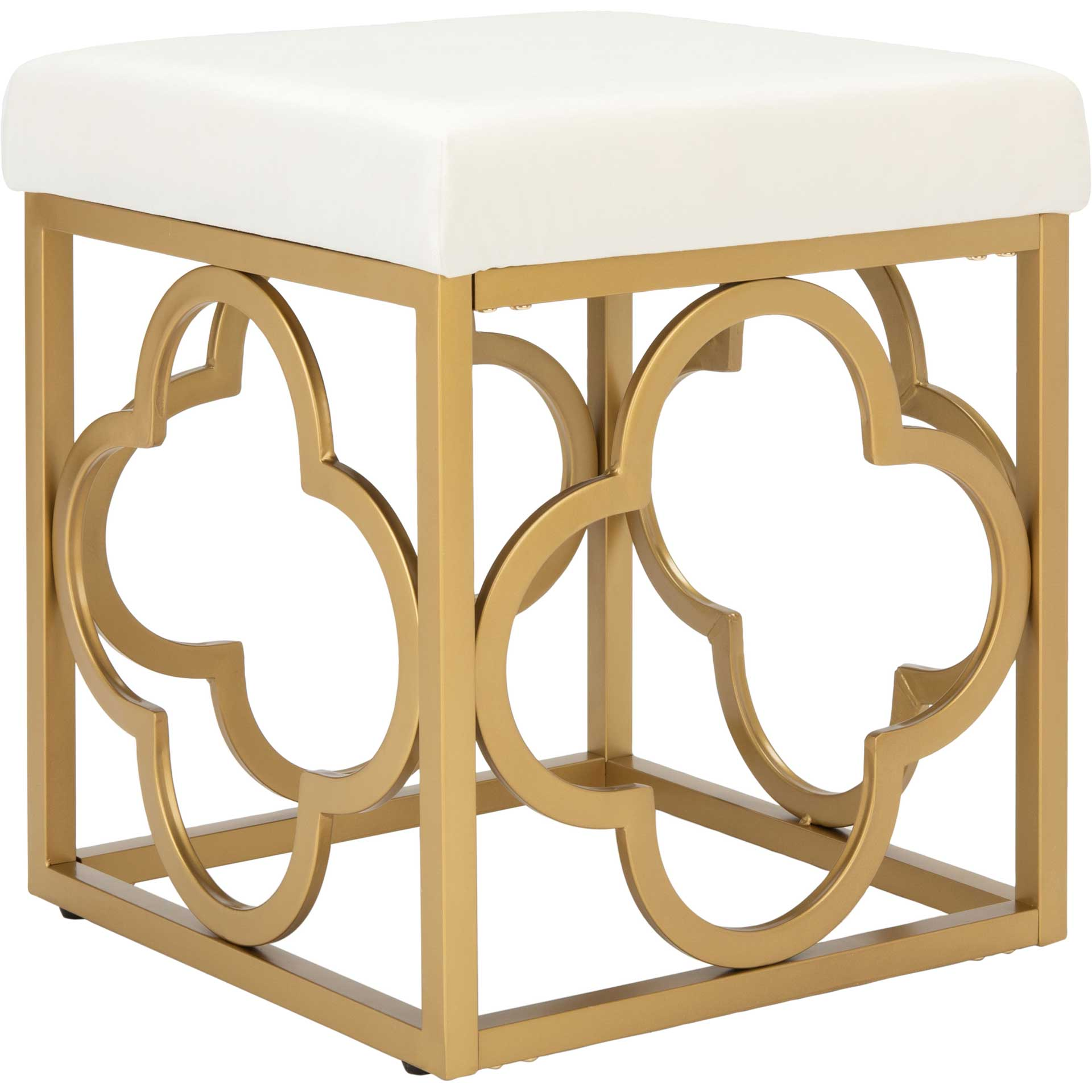 Florence Square Ottoman Creme/Gold