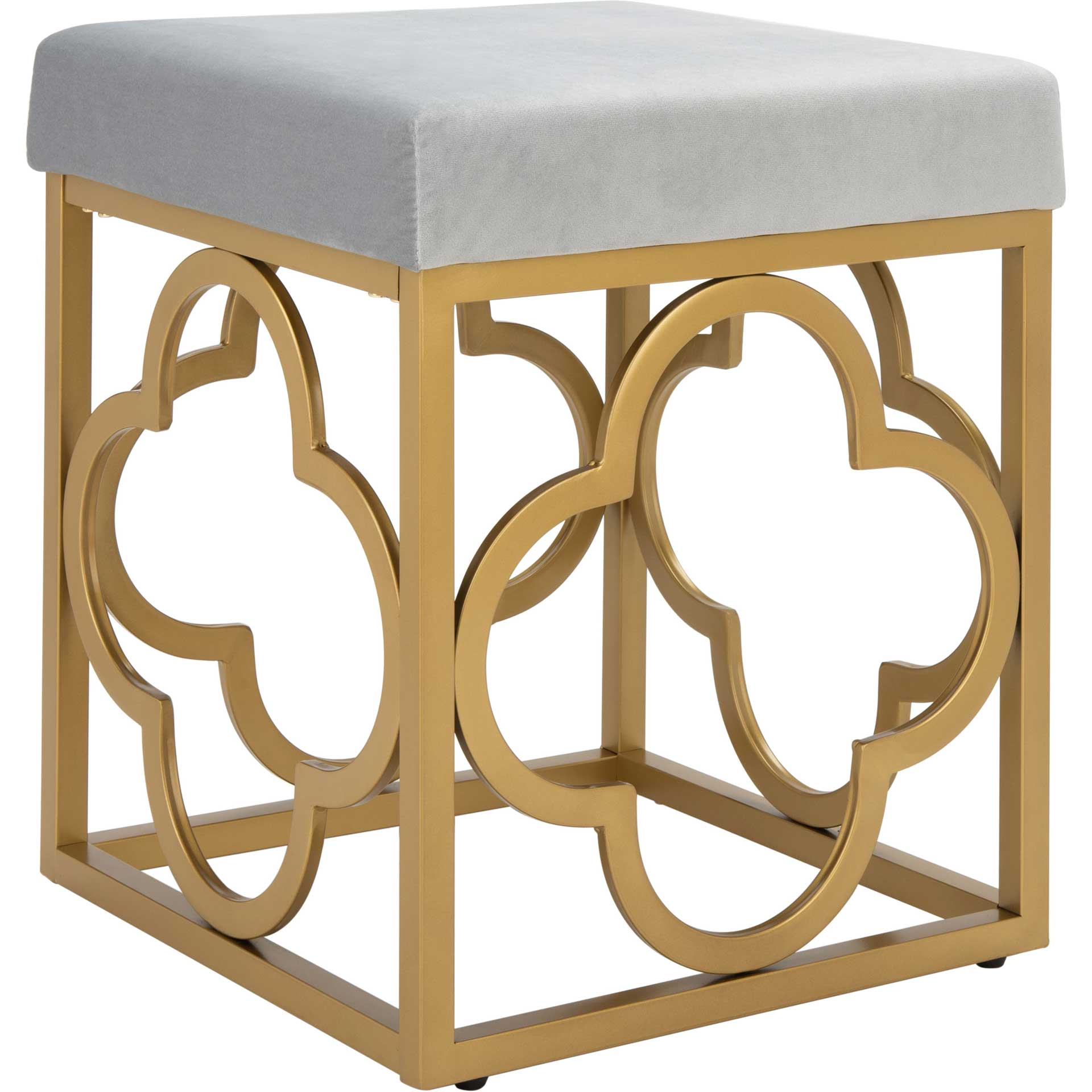 Florence Square Ottoman Gray/Gold