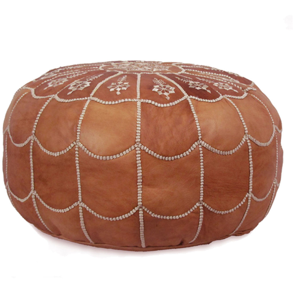Arch Design Moroccan Pouf Dark Tan