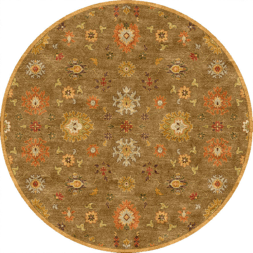 Poeme Nantes Gray Brown Round Rug