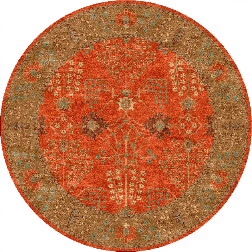 Poeme Chambery Orange Rust/Gold Brown Round Rug