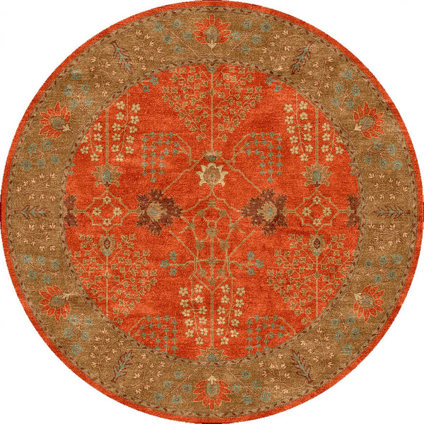 Poeme Chambery Orange Rust Gold Brown Round Rug Froy