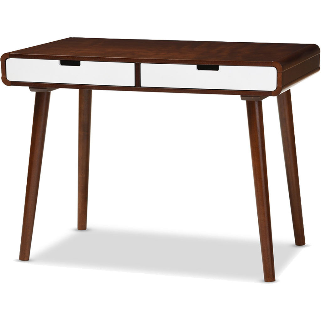 Chelsea Office Desk White/Walnut