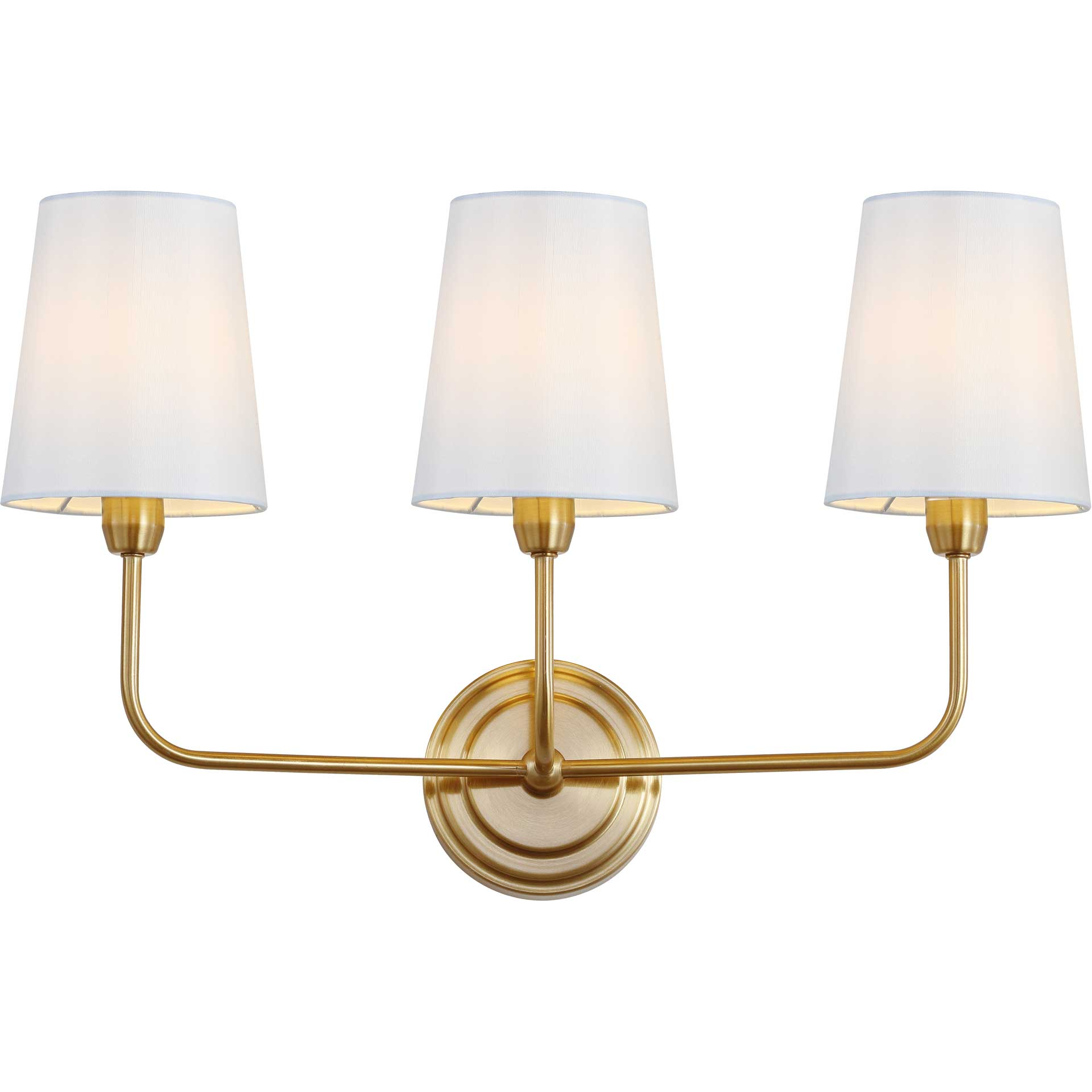 Saga Three Light Wall Sconce Brass Gold