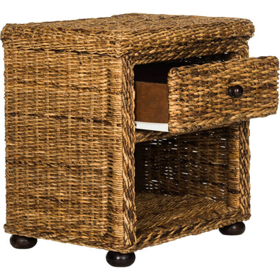 Macy Natural Brown Wicker Nightstand