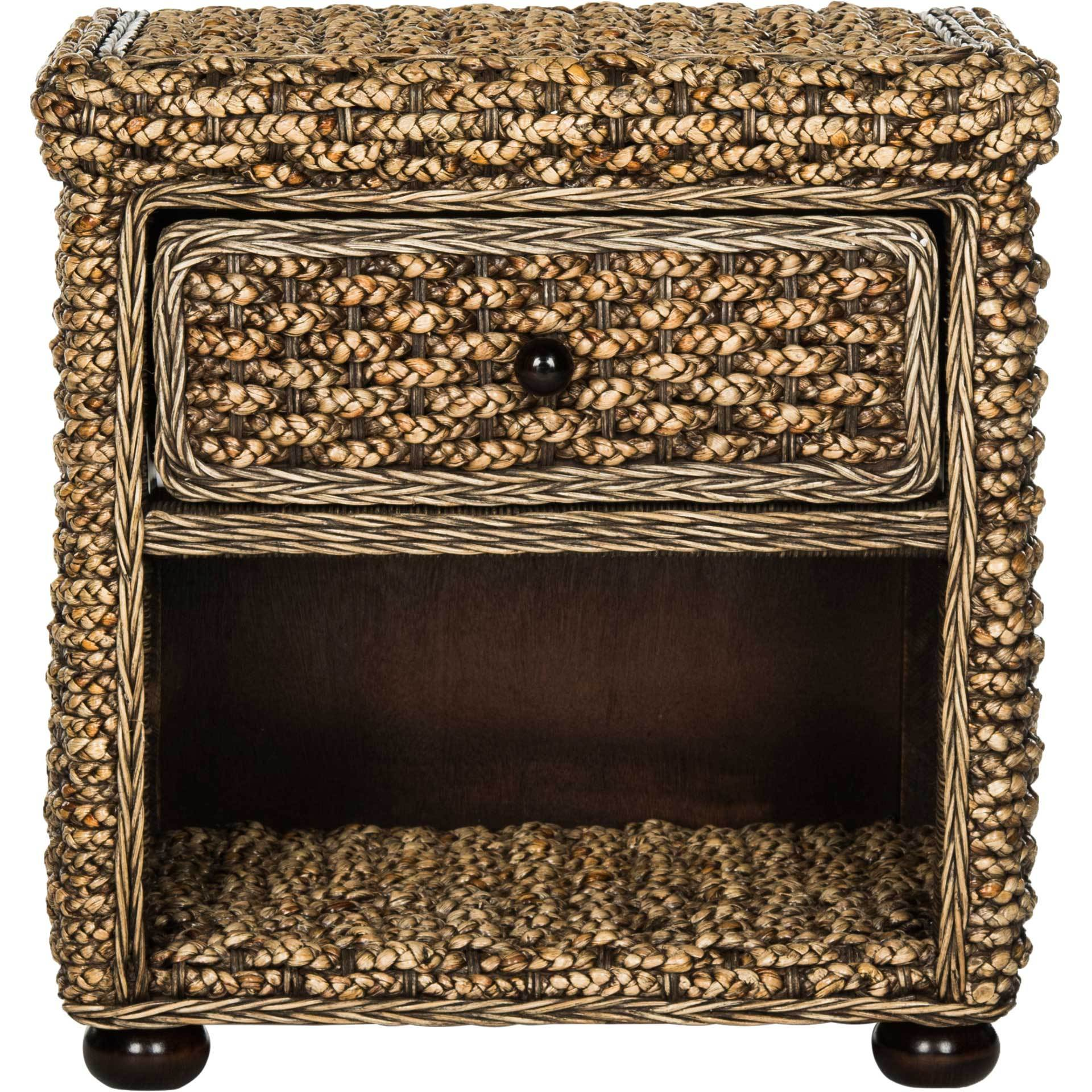 Mustafa Braided Brown Wash Wicker Nightstand